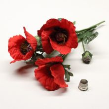 Pack of 3 Vintage Red Poppy Flowers